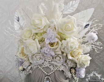 Τhe White Queen headpiece-white flowers fantasy headpiece-headdress-wgt headpiece-READY TO SHIP