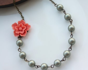 Coral Sakura Flower, Sage Green Pearls Antiqued Brass Necklace. Vintage Style, Bridesmaid Necklace. Maid Of Honor Gifts. Green and Coral