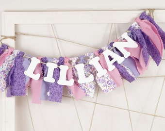 Shabby Chic Floral Name Banner - Pink and Purple Birthday Banner - Highchair Garland - Girl's First Birthday - Smash Cake Photography Prop