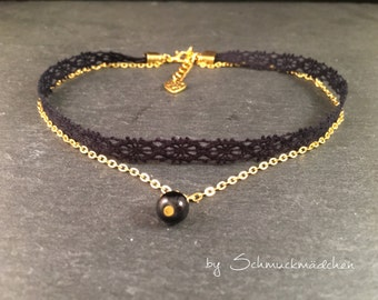 Chain Choker Black Lace gold