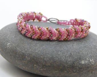Beaded Bracelet, Bangle, Beadwoven Bracelet, Handmade Jewelry, Gift for Her, Valentine's Day