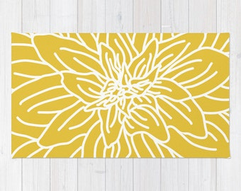 Yellow rug etsy mustard yellow abstract flower area rug modern flower rug yellow and white nursery mightylinksfo