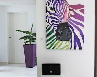 Zebra multicolor/Animal sauvage/Art moderne/table color / modern art / contemporary