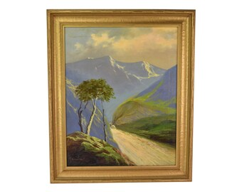 1930's Oil Painting Italian Alps Woman with Sheep Walking Through Pass Sgnd Pelusa