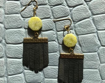 BLACK + LIME // Mini Leather Fringe Earrings