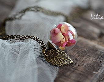 Rose petals necklace, Real rose pendant, Dried flower necklace, Terrarium necklace, Real flower necklace, Botanical necklace, Rose jewelry