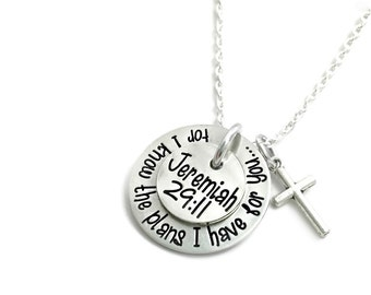 For I Know The Plans I Have For You - Jeremiah 29:11 Necklace - Religious - Hand Stamped Jewelry - Personalized Jewelry - Engraved Jewelry
