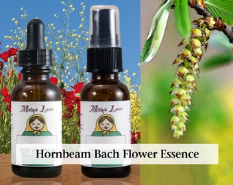 Hornbeam Flower Essence, 1 oz Dropper or Spray for Energy and Enthusiasm, Recovery from Weariness or Fatigue
