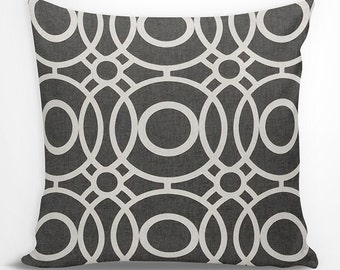 Black and White Geometric Euro Sham - Charcoal Black and White Geometric, Circles Decorative Pillow, Accent Pillow, Throw Pillow, Gift
