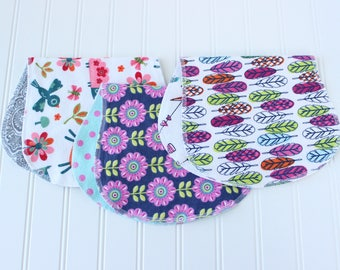 Baby Girl Burp Cloths - Set of 3 - Baby Shower Gift - Baby Gift - Aztec - Woodland - Feathers