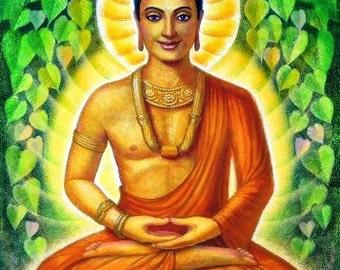 BUDDHA meditation art Siddhartha Gautama spiritual Zen Buddhist matted print of painting by Sue Halstenberg