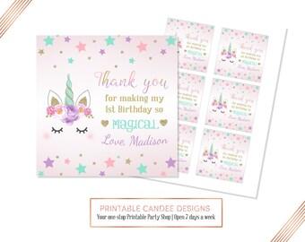 Unicorn favor tags, Unicorn gift tags, Unicorn Party Decor, thank you tags, Custom Name and Age, Printable File