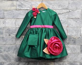 Long sleeve Flower girl Dress, handmade roses, knee length dress, couture dress for wedding, birthday