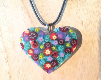 Fused Glass Heart Pendant, Millefiori Glass Heart, Valentine's Gift, Heart Necklace, Glass Flower Pendant, Flower Necklace, Glass Heart