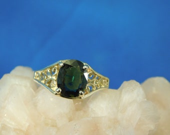 Custom 1.50 ct. Oval Green Sapphire Ring 14k Yellow Gold Filigree