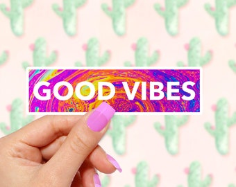 Good Vibes In Color - GOOD VIBES - Vinyl Stickers, Cute Stickers