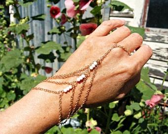 Slave bracelet, Gold hand chain, Hand Chain Bracelet, Hand piece, Gold slave bracelet,Hand chain ring bracelet, Boho Wedding Jewelry