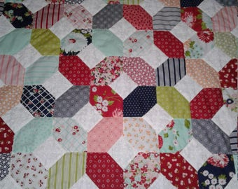 "70"" x 70"" handmade quilt  red/navy"