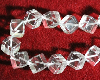 Clear Quartz Diagonally Drilled 8mm Cubes AA Grade, Full Strand - Free UK Postage