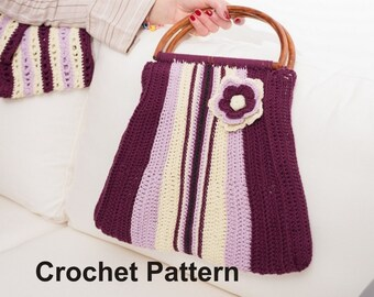 Crochet Pattern for Cotton Handbag Purse with D-shape Handles