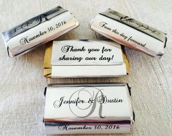 180 SILVER FOIL Monogram Wedding wrappers/stickers/labels for your Hershey MINIATURES (Personalized Favors) for your party or any event