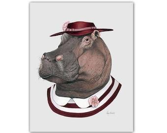 Hippo art print - Animal art - Nursery art - Nursery decor - Animals in Clothes - Children's art - Ryan Berkley Illustration 11x14