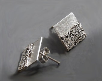 Sterling silver and fine silver square stud earrings. Silver earrings. Silver jewellery. Post earrings. Handmade. MADE TO ORDER.