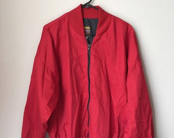 Vintage Jacket, Vtg Bee Wild Coat, Noble Oklahoma, Vtg Red Jacket, Made in USA, Size XL