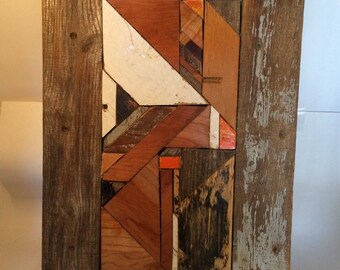 Memory: scrap wood abstract geometric mosaic