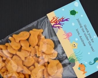 Personalized Under the Sea Treat Bag Topper - DIY Printable Digital File