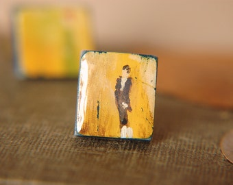 Statement Ring Pride & Prejudice Inspired Hand Painted Adjustable Band - Mr. Darcy