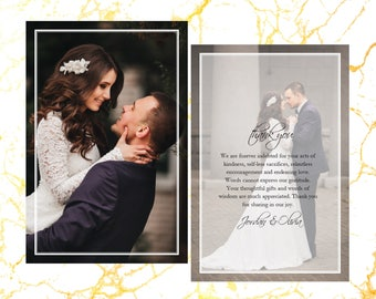 Thank You Card | Wedding Thank You Card | Front and Back | Wedding Day | Wedding Pictures | Mr and Mrs | Black and White | 4x6