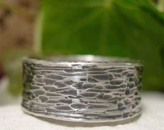 Wide Band Sterling Silver Ring, Tree Bark Ring, Textured Hammered Silver Ring, Hand Forged Oxidized Ring, Unique Rustic Men's/Women's Ring