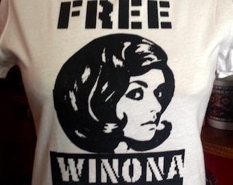 Original Free Winona Silk Screened White T-Shirt