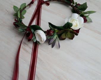 Burgundy Flower Crown green succulents wedding hair wreath Ivory Bridal party silk floral marsala accessories flower girl halo