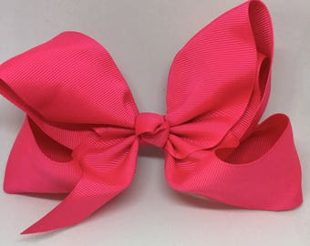 Hot Pink Boutique Bow, Baby Hair Clip, Baby Bow, Toddler Hair Clip, Toddler Bow, Spring Baby Hair Clip