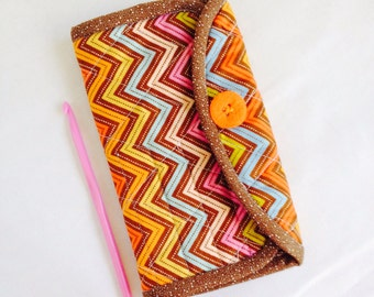 Crochet Hook Case - brown, orange and aqua chevron quilted cotton carrying case, gift idea for crocheter, organizer crafts, trendy zig zag