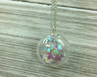 Bubble Collection - Glass Bubble Holograph Pendant - Floating Unique Shake Necklace - Large Statement Necklace