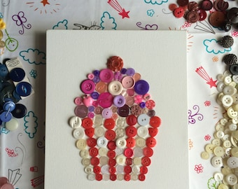 SALE *** Button Cupcake on Canvas. Button Art. Unique, individual, one-of-a-kind.