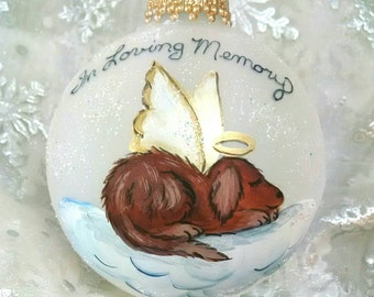 Dog Memorial Ornament, Dog Angel, Pet Tribute, Angel on a Cloud, Meaningful Gift, Free Inscription