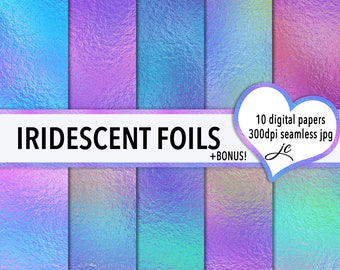 Iridescent Foils Digital Papers + BONUS Pattern Files, Seamless, Textures, Backgrounds, Clipart, Personal & Commercial Use