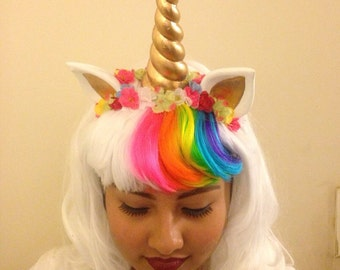 White Unicorn Wig accented with color bangs, Ears and Honr accented with little flowers, also a Clip on Tail, My little Pony, Ready to Ship