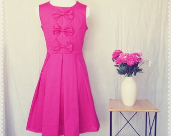 Pretty in Pink Bow Back Pleated Dress - Bow Back Dress, Hot Pink Dress, Fit and Flare Dress, Valentine Dress, OOAK Dress in Size Medium