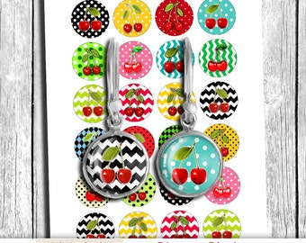 """Printable Circles """"Cherries"""" 12mm 14mm 16mm 20mm images for Earrings Cuff Links Magnets Digital Collage Sheet - Instant Download"""