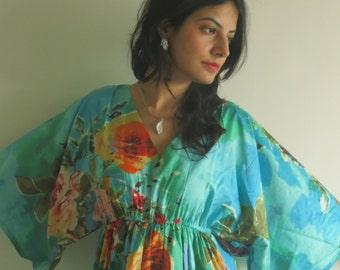 Butterfly Sleeves Empire Waist Floral Kaftan Dress, Summer Dress, Long Maxi, loungewear, beachwear, Maternity Dress, Holiday Vacation Wear