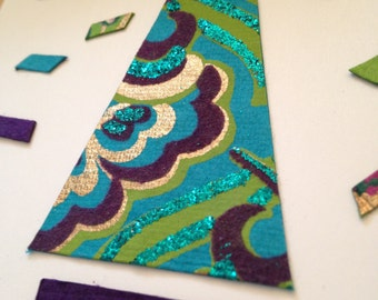 Ecochic Upcycled Giftbags Holiday Card Set with Teal, Purple, Green, Gold Tree and Paper Snow - Set of 12
