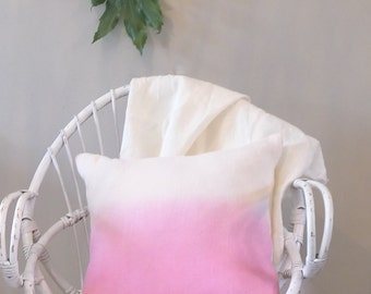 Pink and white linen ombre cushion cover. Dip dyed pillow cover in fuchsia and white. Hand dyed.