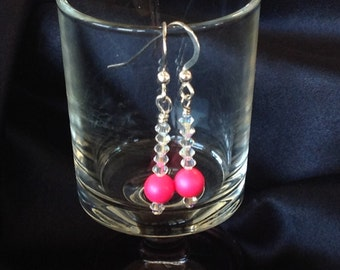 Neon Pink Swarovski Crystal Pearl Earrings