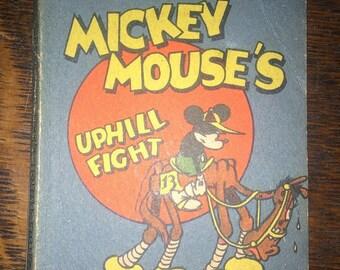 Antique Disney Mini Book - Mickey Mouse's Uphill Fight