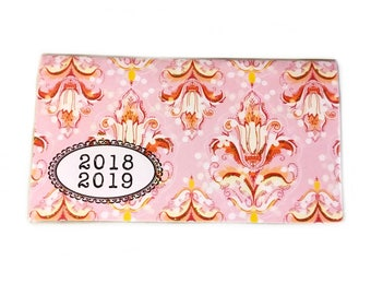 2018 2019 mini Planner Pink Damask - two year calendar - 2 year monthly planner stocking stuffer - pastels